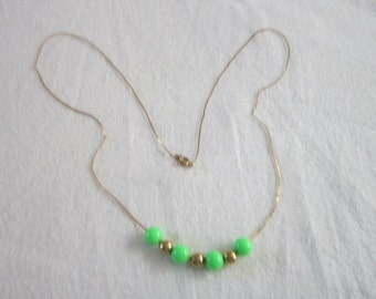 60's 70's Retro Chain Necklace with Wild green & gold beads