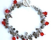 St. Louis Cardinals Inspired Round Dangle Bracelet with Swarovski Crystals