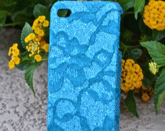 iPhone 4 Case Aqua Blue Flower Lace cell phone cover