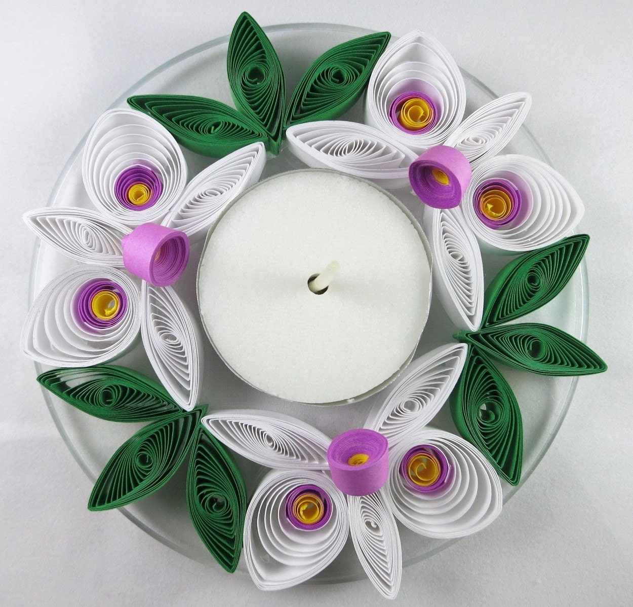 Floral candle holder candle centerpiece wedding decor tea for Decoration quilling