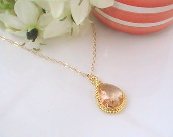 Peach Necklace, Blush Wedding Jewelry, Champagne Necklace, Bridesmaid Gift Ideas, Bridal Necklace, Bridesmaid Jewelry, Bridesmaid Necklace