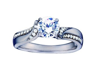 Certified diamond engagement ring 0.65 ctw 14 k white gold hand made