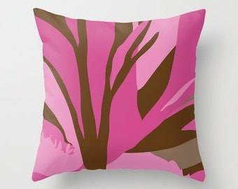 Outdoor Pillow Cover, Brown and Pink Flower Pillow Cover,18x18 inch Pillow Cover, 20x20 inch Pillow Cover