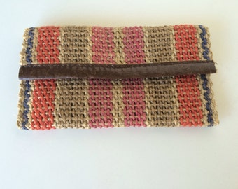 Vintage Small Zippered Jute Clutch