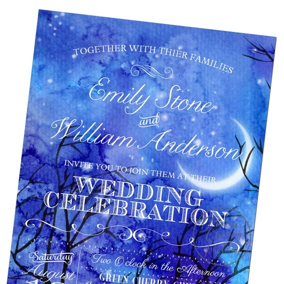 Items Similar To Starry Night Wedding Invitation