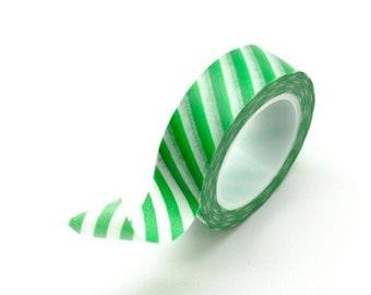 Washi Tape Paper Masking Tape - Green Stripes