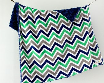 Baby Blanket, Blue, Grey and Kelly Green Chevron with Navy Blue Minky Swirl, Ready to Ship
