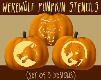 Werewolf / Wolf Digital Halloween Pumpkin Stencils, Jack-o-lantern Patterns