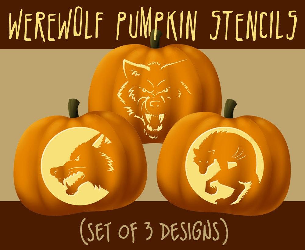 Werewolf wolf digital halloween pumpkin stencils zoom pronofoot35fo Choice Image