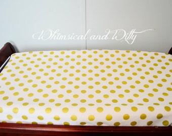 Gold Polka Dot Changing Pad Cover