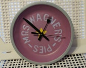 """Hand Painted Upcycled Vintage Pie Tin Wall Clock - """"Mrs. Wagner's"""""""
