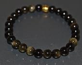 Natural Gemstone Bracelet - Golden Obsidian