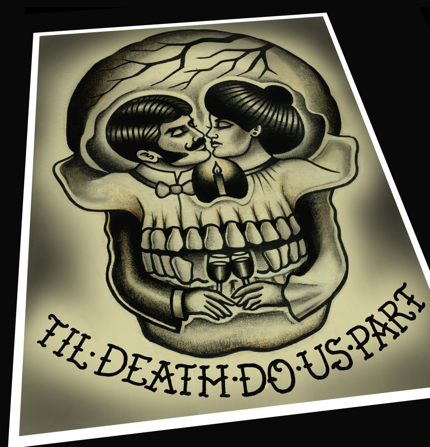 til 39 death do us part tattoo print