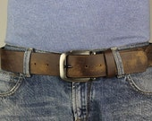Men's Genuine Brown Leather Belt Changeable Extra wide Distorted (5102)