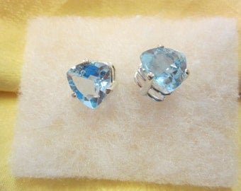 Natural Top Sky Blue Trilliant Topaz Earrings