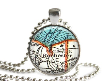 Rochester map necklace pendant charms: Rochester New York jewelry charm, map jewelry, available as a College Keychain Gift, A264