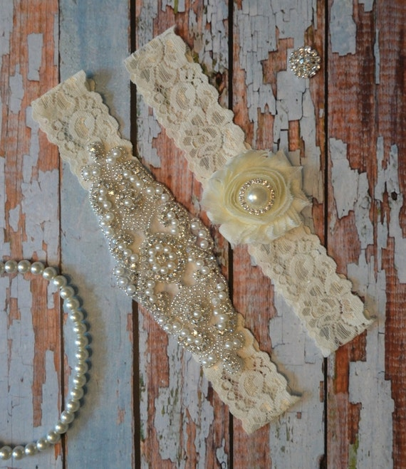 Wedding Garter Set Elegant Rhinestone And By