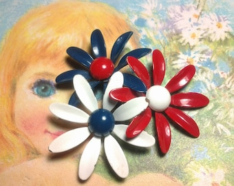 enamel flower vintage costume jewelry brooch pin