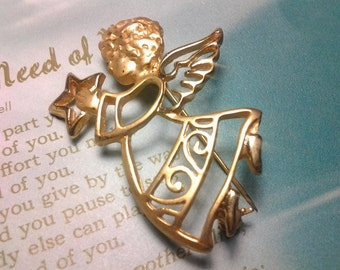 angel vintage costume jewerly brooch pin gold