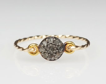 Rough Diamond Ring . Pave Gold Band by SHAZOEY . Australian jewellery . diamond jewellery . statement ring . oxidised ring