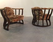 Edward Wormley for Dunbar style Wheat Sheaf Easy Chairs-Mid-Century Walnut
