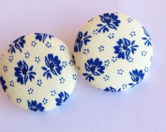 Large Vintage Blue Floral Print Fabric Button Earrings
