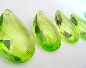 5 Chandelier Crystal 50mm Spring Green Teardrops Prisms Almond Light Peridot Green