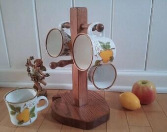 Sweet 4 Mug Set of Mikasa Natural Beauty Bountiful Pear & Blossom Mugs + Solid Oak Wood Apple Mug Tree Coffee Tea Kitchen Decor Lovely GIFT
