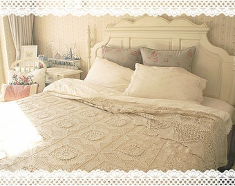 100% Cotton Handmade Vintage Style Lace Crochet Bedspread Throw Coverlet Spread, Linens, Quilt, Queen and King, BC001