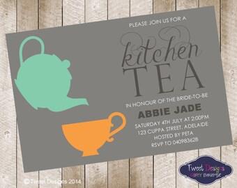 KITCHEN TEA INVITATION, Printable Kitchen Tea Invitation, Bridal Tea Invitation, Bridal Shower, Modern Kitchen Tea, High Tea, Kitchen Tea