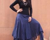 Boho Long Skirt .....Long Skirt ...Color Blue