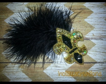 black and gold fleur de lis hair clip