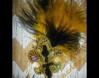 black and gold fleur de lis hair clip