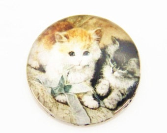 12 pcs of hand made cat glass cabochon 25mm-0999-CAT 4