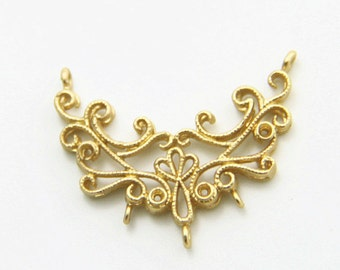 6 pcs of brass filigree connected pendant with three loop 25mx25mm-1673-matte gold