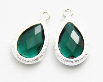 4 pcs of faced jewelry fit with matte silver setting drop pendant  20x13mm-1683-emerald 301