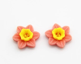12 pcs of resin flower cabochon 16mm-0889-pink-yellow