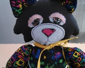 Kool Cat - kitty handmade stuffed toy, gift, character, OOAK