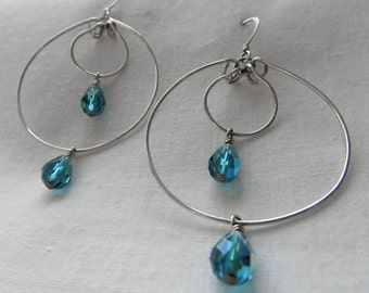 Large Earrings Sterling Silver Earrings Hoop Earrings Handmade Earrings Teal Earrings Swarovski Crystal Earrings