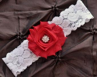 Red Wedding Garter, Red Bridal Garter - White Lace Garter, Toss Garter, Shabby Chiffon Rosette Red, Red Wedding Garter, Red Bridal Garter