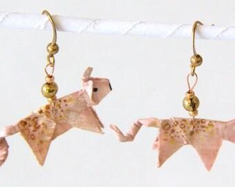 Origami Pig Earrings