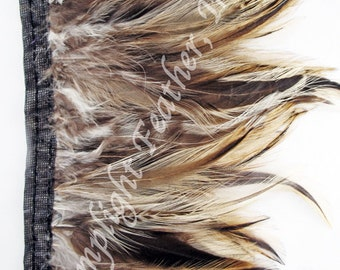 Rooster hackle feather trim, natural badger, per 5 yards