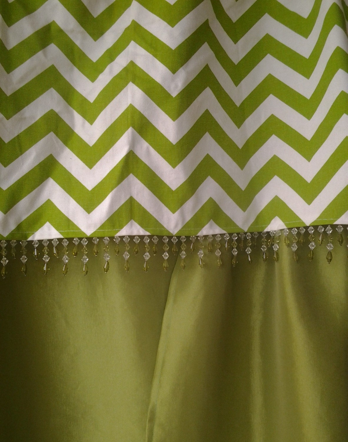 Lime Green Stretch Taffeta Curtains With Chevron Beaded