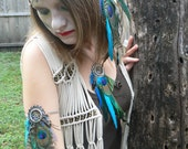 arm chain peacock pheasant feather dreamcatcher arm chain armlet in native american inspired tribal boho belly dancer and hipster style
