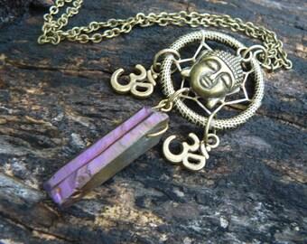 spiritual buddha necklace zen necklace dreamcatcher necklace ohm om yoga mystic crystal new age zen boho hipster hippie gypsy style