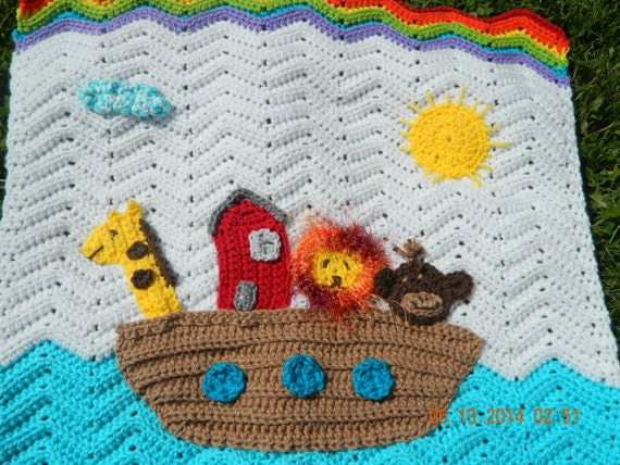 Crochet Noah's Ark baby blanket customized to baby's favorite animals. Washable and durable, made from 100% acrylic yarn.