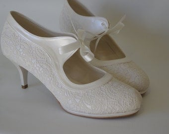 Wedding shoes, Salsa dance French Guipure lace ivory wedding shoe designed specially  #7011