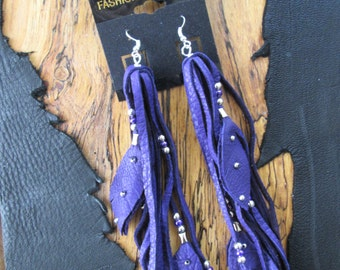 Purple Deerskin Leather  Earrings With Silver And Purple  Beads And Leather Feathers