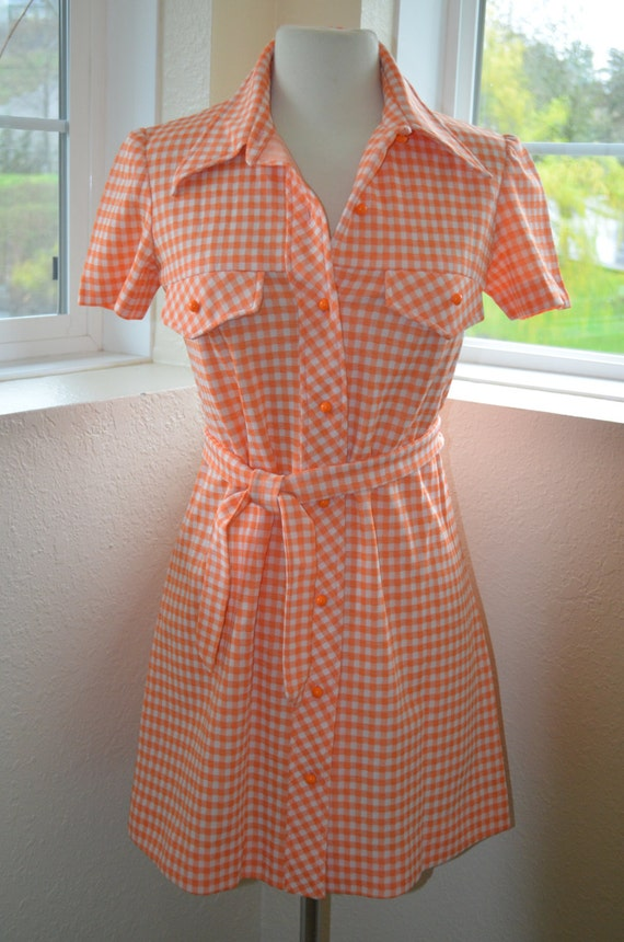 Orange And White Gingham Check Shirt Dress Women 39 S S