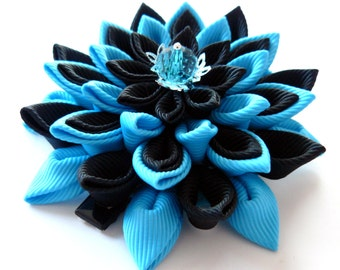 Kanzashi fabric flower hair clip. Black and turquoise.